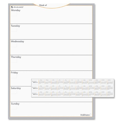 AT-A-GLANCE AW503028 WallMates Self-Adhesive Dry Erase Weekly Planning Surface, 18 x 24 ()