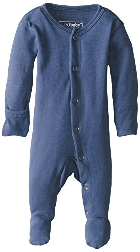 L'ovedbaby Unisex-Baby Organic Cotton Footed Overall, Slate, 0/3 Months