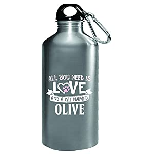 All You Need Is Love And A Cat Named Olive Gift - Water Bottle