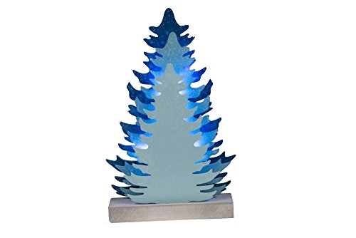 Wooden Tree with LED Lighting | Christmas Decoration Home, Living Room, Office or Classroom | Festive Holiday Décor | Blue | 8