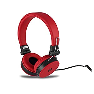 Polaroid PHP8660RD Neon Headphones with Mic, Foldable, Tangle-Proof, Compatible with All Devices, Red