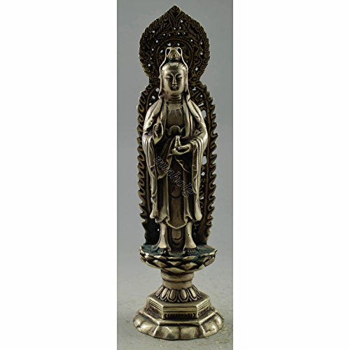 Vintage Home Decor Handwork Tibet Silver Carve Kwan-Yin Hold Bottle Statue China Old Folk Art Collectible Antique Business Gift