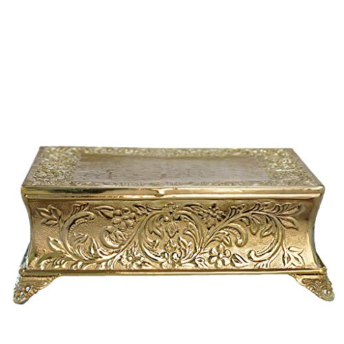 - BalsaCircle 14-Inch Gold Plated Square Embossed Wedding Cake Stand - Birthday Party Dessert Display Pedestal Centerpiece Riser
