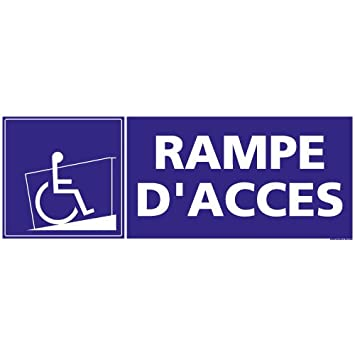 Rampe d'Accès - Panneau Plaque Pancarte - Plastique rigide PVC 1, 5 mm - Dimensions 210 x 75 mm - Double face au dos - Garantie 10 ans - Panneau rampe d'accès handicapé Signaletique.biz