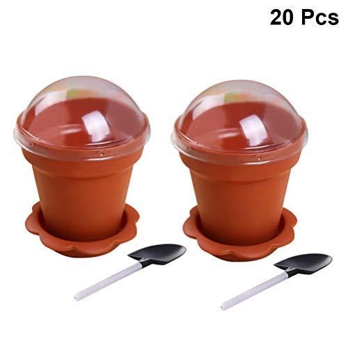 UPKOCH 20pcs mini flower pot cup with shovel spoon