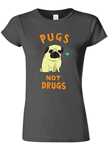 フィットネスホームレス論理的Pugs Not Drugs High Weed Novelty Charcoal Women T Shirt Top-XL