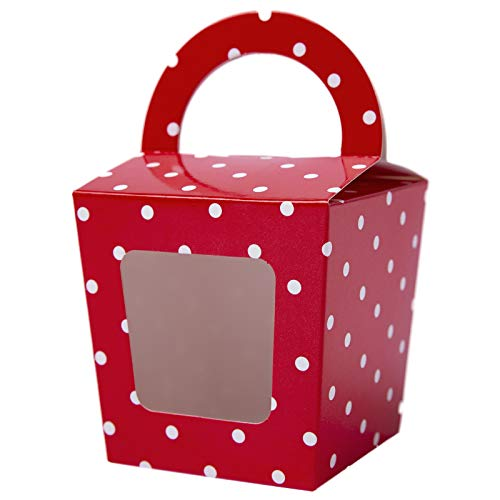 [24pcs] ONE MORE Single Mini Cupcake Boxes Individual Containers With Handle and PVC Window,Disposable Paper Cupcake Holders (red) ()