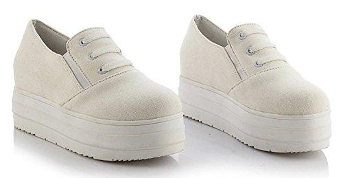 Sfnld Femmes Mignonne Bout Rond Slip Bas Élastique Slip Sur Espadrilles Plate-forme Mocassins Chaussures Blanc