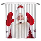 Jiahonghome Mildew Resistant Long Shower Curtain Christmas Theme Santa Claus Bowing Something from