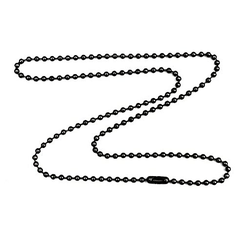 1.8mm Fine Gunmetal Plated Steel Ball Chain Necklace with Extra Durable Color Protect Finish - 18 Inches (Plated Gunmetal)
