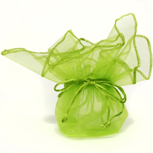 TS-ORGBAG-NEONLIME 30 Designer Organza Fabric Gift Bags Pouches Party Favor Gifts Packaging Neon Lime Green-12 inches
