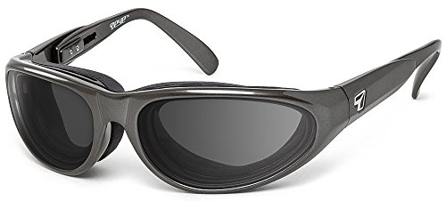 7eye by Panoptx Diablo Wind Blocking Padded Foam Sunglasses – Gray Lenses Perfect for Motorcycle Riding, Cycling, Dry Eyes, Snowboarding, Outdoors Sports – ANSI Z87.1