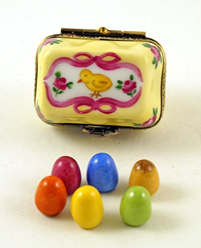Authentic French Porcelain Hand Painted Limoges Box Egg Carton with Removable Eggs