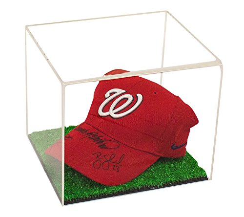 Hat Mlb Cases Display (Deluxe Clear Acrylic Baseball Cap Display Case with Turf Base (A006-TB))