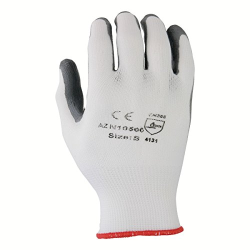 Azusa Safety N10500 13 gauge Knit Nylon Work Safety Gloves, Nitrile Coated Smooth Flat Finish Medium 8'', White/Gray  (Pack of 120 pairs)