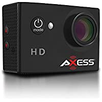 AXESS CS3603BK 720p HD Wide Angle Lens Sports and Action Camera with Waterproof Housing and Accessories (Black)