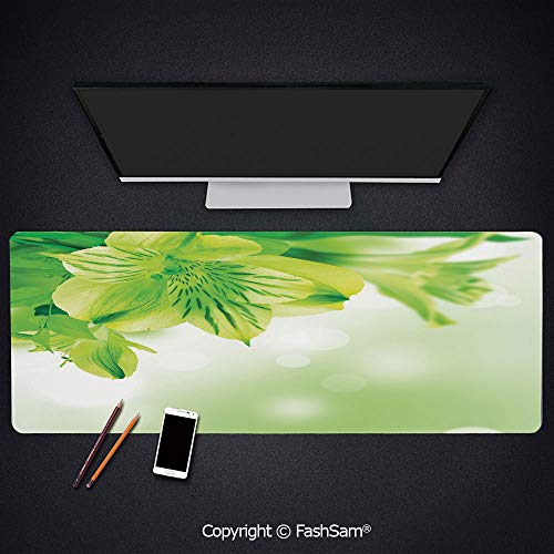 Desk Gaming Mouse Pad Non-Slip Fresh Lily Flower Bloom with Leaves Abstract Bokeh Backdrop Garden Plant Keyboard Pad for Office Desktop(W35.4xL15.7)