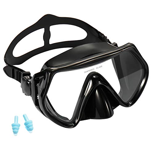Supertrip Snorkel Dive Mask Adult Anti-Fog Film Panoramic Scuba Diving Goggles Black