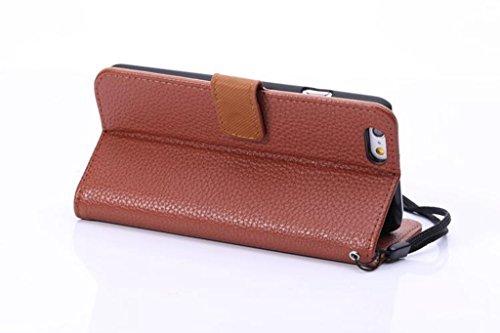 JIALUN-carcasa de telefono Para el iPhone 6 y 6s, caja de cuero de la caja de la cubierta de la caja del cuero del Faux de la textura de Lichí de la alta calidad con el acollador que lleva y Kickstand Brown