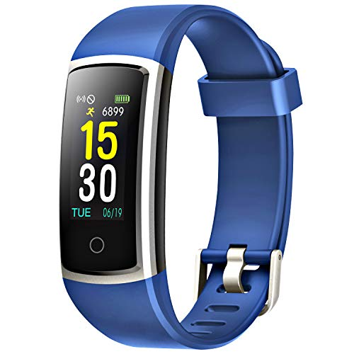 FITFORT Fitness Tracker with Blood Pressure HR Monitor - 2019 Upgraded Activity Tracker Watch with Heart Rate Color Monitor IP68 Pedometer Calorie Counter and 14 Sports Tracking for Women Kids (Blue)
