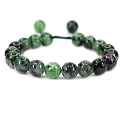 - AMANDASTONES Natural Ruby in Zoisite Gemstone 10mm Round Beads Adjustable Braided Macrame Tassels Chakra Reiki Bracelets 7-9 inch Unisex