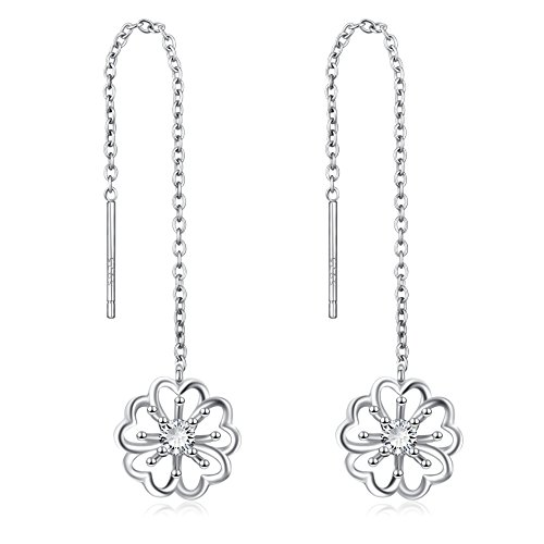 POPLYKE Threader Earrings Sterling Silver Leaf Heart Daisy Flower Teardrop Dangle Drop Pull Through Stud Earrings for Women Girls (Flower - Daisy Earrings Silver Flower Sterling