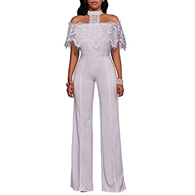 HELIDA Womens Off Shoulder Lace Halter High Waist Wide Leg Pants Jumpsuit Romper