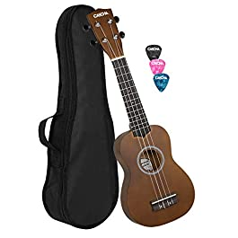 CASCHA, 4-String Soprano Ukulele with Black Nylon Bag and 3 Picks (EH 3953)