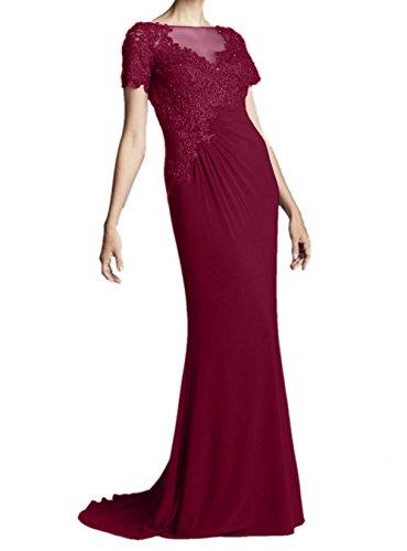 Brautmutterkleider Blau Navy Partykleider Kurzarm La Marie Braut Lang Weinrot Abendkleider Perlen Etuikleider tqgw0Tx
