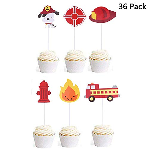 (Finduat 36 Pcs Fireman Themed Cupcake Toppers Fire Truck Firefighter Hat Shield Fire Hydrants Flame Cupcake Toppers Cake Picks for Baby Shower Birthday)