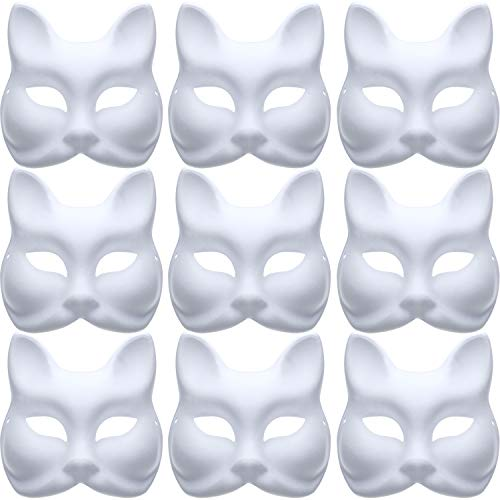 Jovitec 10 Pieces DIY Masquerade Mask Plain Paper Mask White Fox Mask for DIY Halloween Mardi Gras Party ()