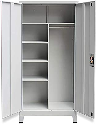 Metal Storage Office Cabinet Cupboard Wardrobe Shelves Locker Steel Compartments