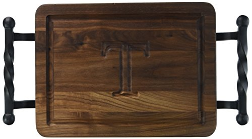BigWood Boards W200-STWB-T Thick Bar/Cheese Board with Twisted Ball Handle, 9-Inch by 12-Inch by 3/4-Inch, Monogrammed