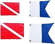 4pcs Diver Down Flag, Outdoor Boat Flags, Scuba Flag, Maritime Signal Flags, 2pcs Red & White Flags, 2pcs