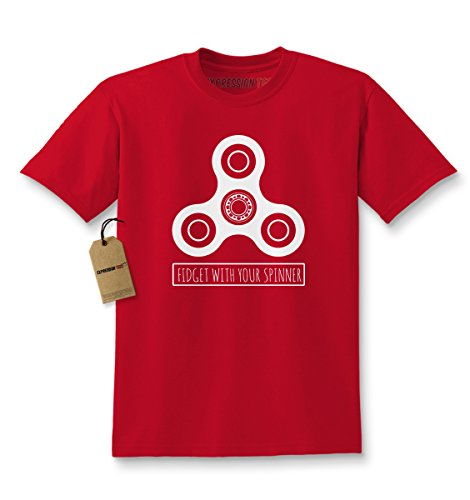 Kids Fidget With Your Spinner T-Shirt X-Small Red