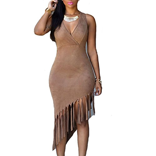 Rekais Brown Faux Suede Fringe Dress,One Size