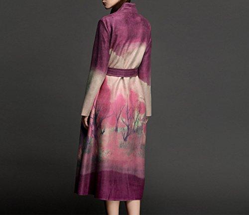 La Sra Capa Del Cordón De Gamuza Gruesa Sección Más Larga De La Capa De Impresión De Alto Grado Purple