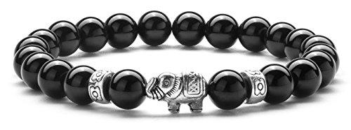 Hamoery Men Women 8mm Lava Rock Aromatherapy Essential Oil Diffuser Bracelet Elastic Natural Stone Yoga Beads Bracelet Bangle,Elephant-21011