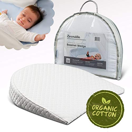 Zermätte Bassinet Wedge Pillow for Reflux Baby Sleep- for Infant and Newborn Colic & Congestion - Premium Organic Cotton Cover with Skid-Free Bottom - Waterproof Inner Cover - Bonus Storage Bag