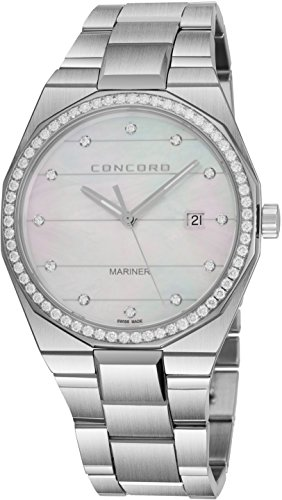 - Concord Mariner Mens Real Diamond Watch - 41mm Analog Mother of Pearl Face with Second Hand, Date and Sapphire Crystal - Stainless Steel Metal Band Swiss Made Quartz Dress Watch for Men 0320264