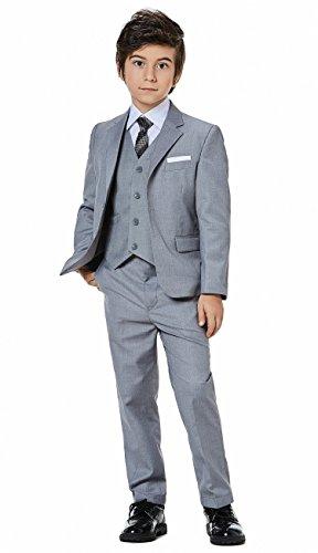 Boys Classic Formal Dress Suits Set 5 Piece Slim Fit Dresswear Suit (6, Grey 2) -