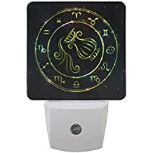Naanle Set Of 2 Glowing Green Astrology Zodiac Sign Aquarius In Bright Circle Or Ring Gold Shine Sparkle Starry Galaxy Star Auto Sensor LED Dusk To Dawn Night Light Plug In Indoor for Adults