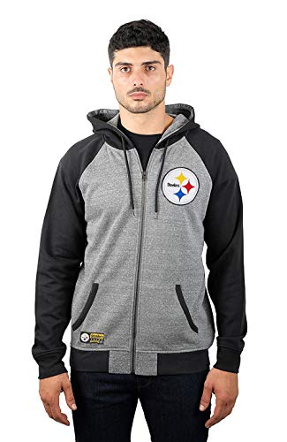 sburgh Steelers Men's Full Zip Fleece Hoodie Sweatshirt Raglan Jacket, Large, Gray ()