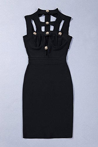 Alice & Elmer Women's Rayon Cut Out Backless Bodycon Bandage Vestido Black