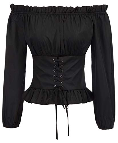 Womens Renaissance Peasant Blouse Ruffle Pirate Boho Tops T Shirts M Black]()