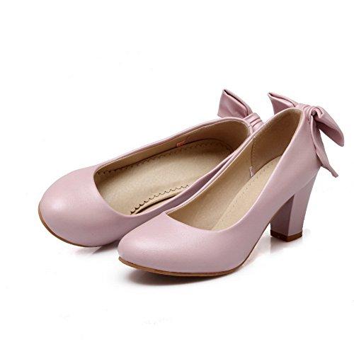 Balamasa Mujeres Bows Chunky Heels Low-cut Uppers Urethane Pumps-Zapatos Pink