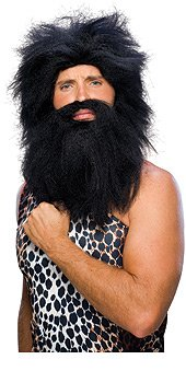 DELUXE CAVEMAN WIG AND BEARD SET - PREHISTORIC MAN ADULT COSTUME ACCESSORY