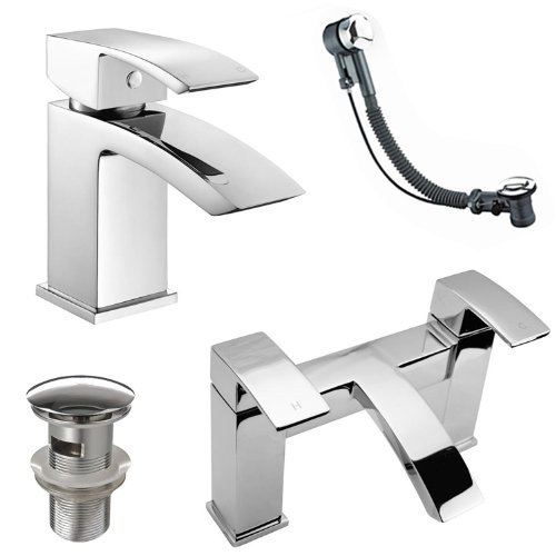 Modern Basin Mixer and Bath Filler Taps with Wastes iBathUK