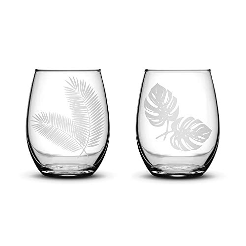 Integrity Bottles Premium Stemless Wine Glasses, Set of 2, Tropical Garden Palm and Monstera Leaves, Deep Etched 15 Ounce Stemless Gifts, Made in USA, Sand Carved by Hand