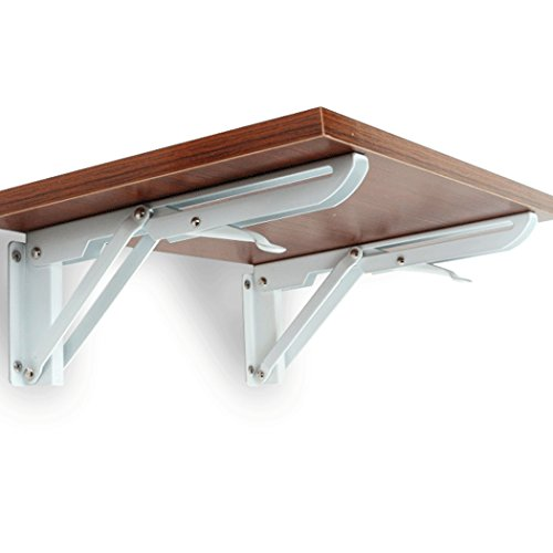 Folding Shelf Brackets Claiery Polished Cold-Rolled Steel Foldable Triangle Shelf Brackets for Kitchen and Bathroom 14inch - Triangle Bracket